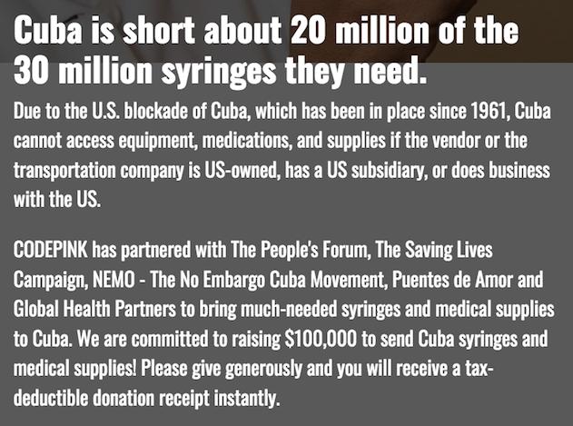 HELP CUBANS GET SYRINGES FOR THEIR  POPULATION